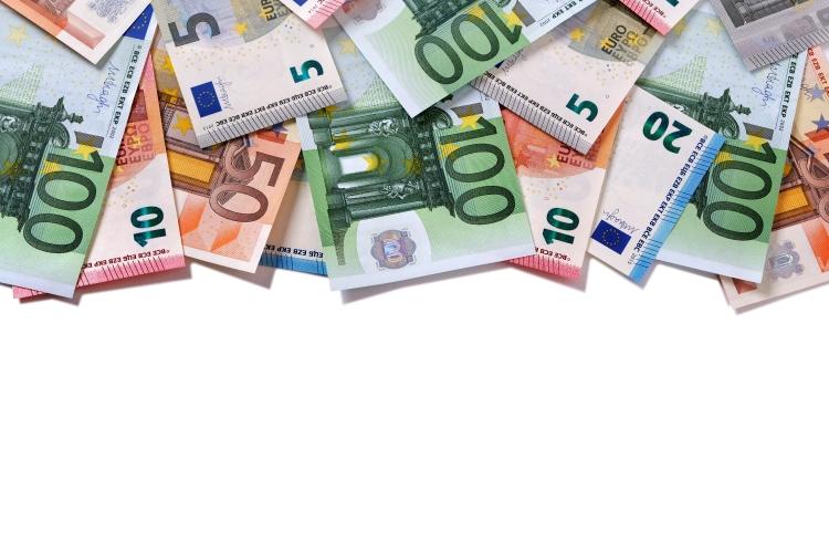 Top border Euro money notes